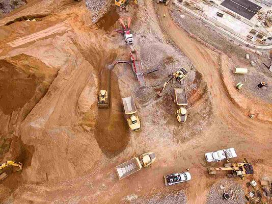 site 4.x Big 4-3 - Aerial view of construction site with earthworks