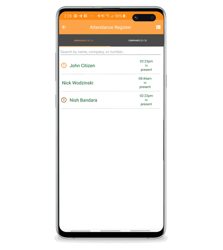 Mobile Mockup - Mobile Attendnace with Flags